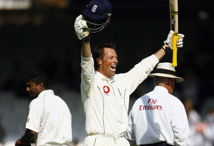 Marcus Trescothick celebrates a century at Lord's.