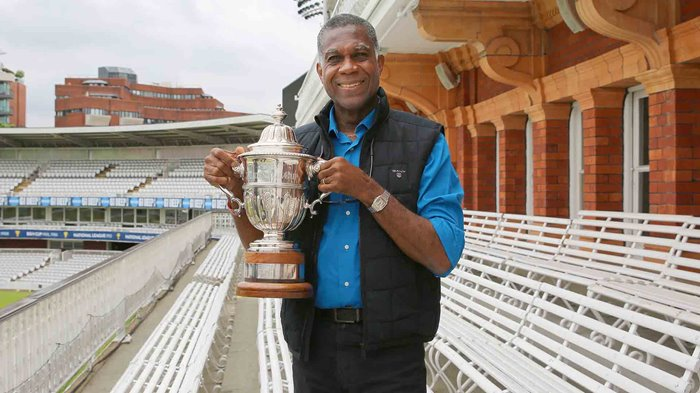 Michael Holding with the Prudential Cup 2019
