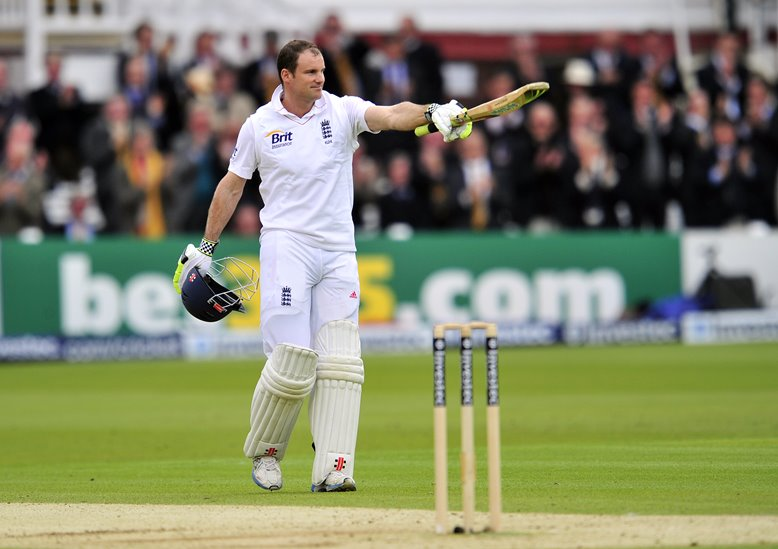 Andrew Strauss celebrates century at Lord's, 2012