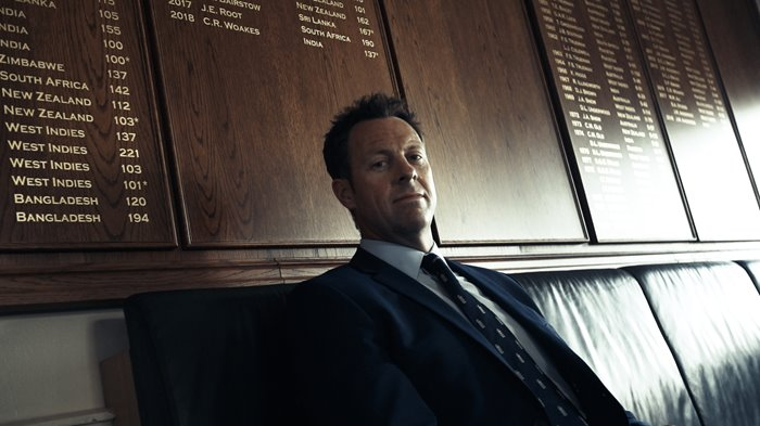 Marcus Trescothick sitting by the Lord's Honours Boards