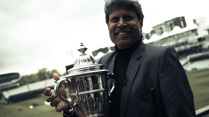 Kapil Dev with the 1983 Prudential Trophy in 2019