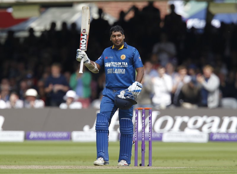 Kumar Sangakkara scores a century at Lord's in 2014.