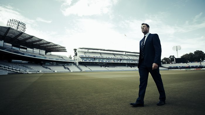 Marcus Trescothick walks across the Lord's outfield in 2019.