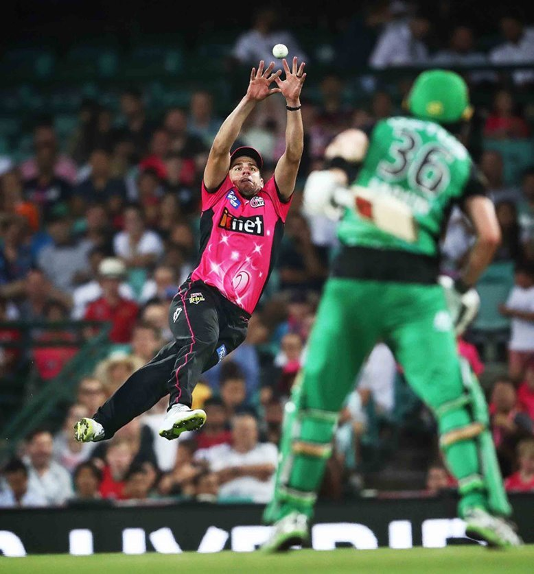 Hillyard, of News Corp Australia, captured Sydney Sixers' Moises Henriques holding on to an outstanding catch to dismiss Melbourne Stars' Nick Larkin at the Sydney Cricket Ground in December.