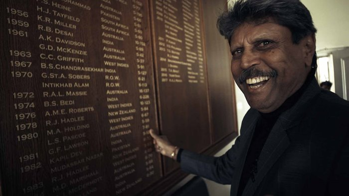 Kapil Dev in 2019 with the Honours Boards.